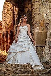 bride on steps Farnham Castle