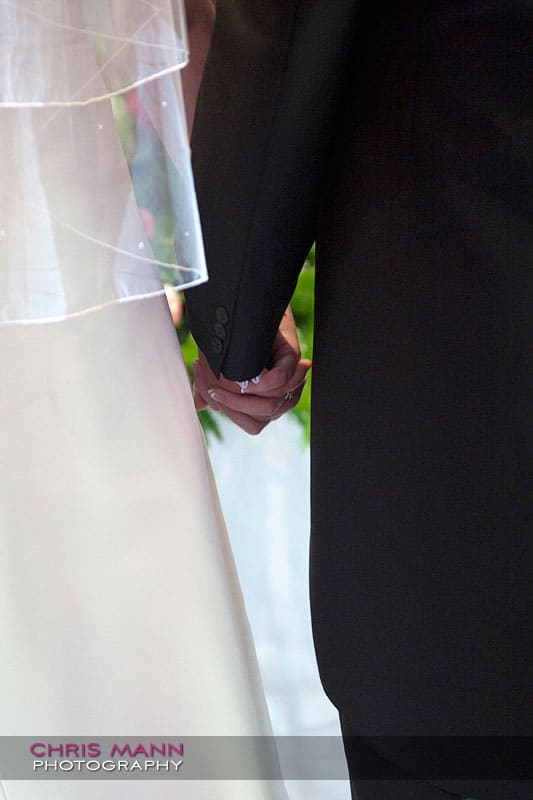holding hands - Libby and Paul's wedding at Cisswood House - photo by Chris Mann Photography