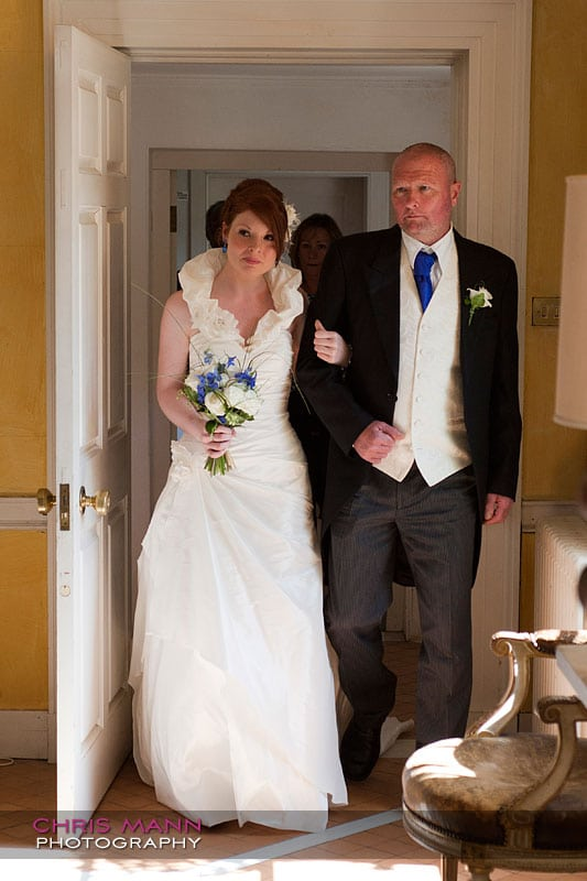 Kimberley & Richard at Bentley - bride walks down aisle with father