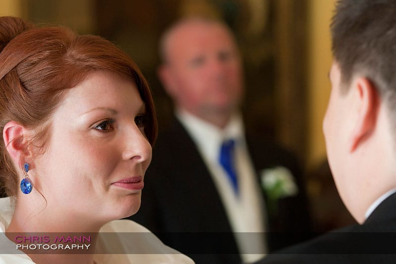 Kimberley & Richard at Bentley - bride and groom with father in background