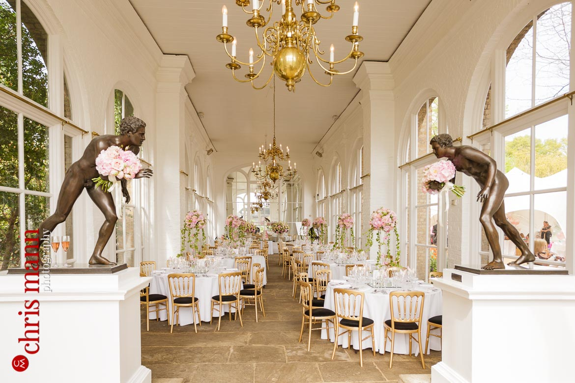 Orangery Holland Park wedding table settings and decorations