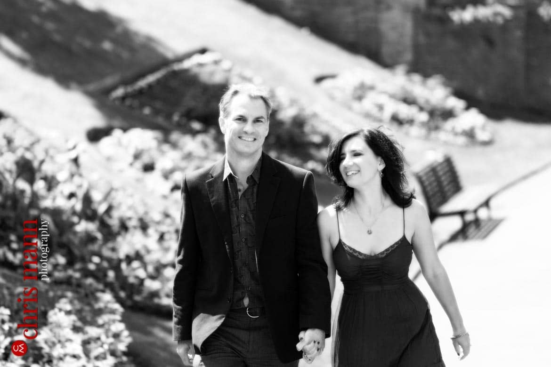 Engagement shoot Guildford Castle couple portrait walking in gardens