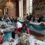 Gosfield Hall Essex wedding breakfast in ballroom
