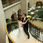Landmark Hotel London bride and groom on staircase