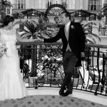 Landmark Hotel London bride and groom on balcony