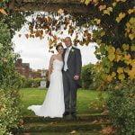 bride and groom Thornton Manor garden