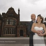 bride and groom outside Thornton Manor