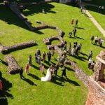 cowdray manor ruins wedding party