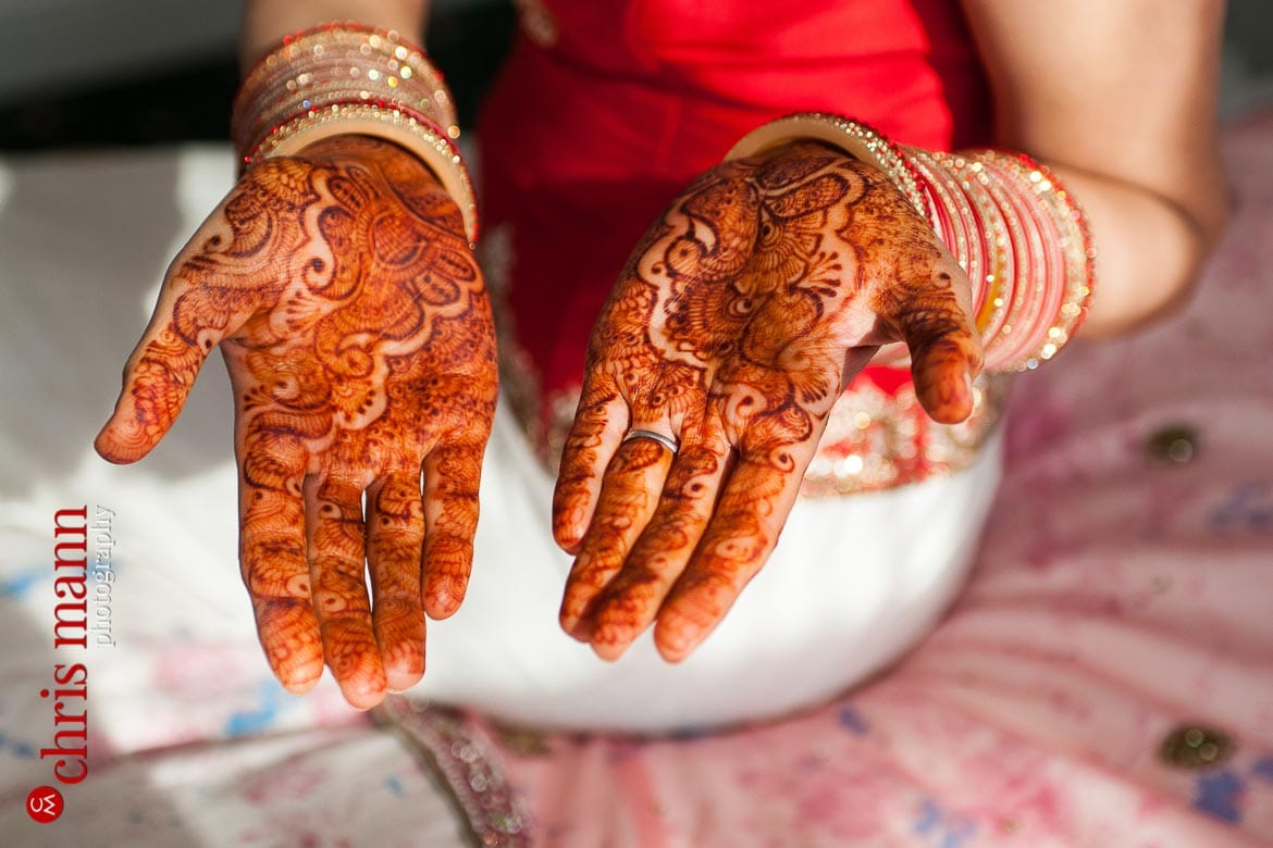 close up of Sikh bride henna hands