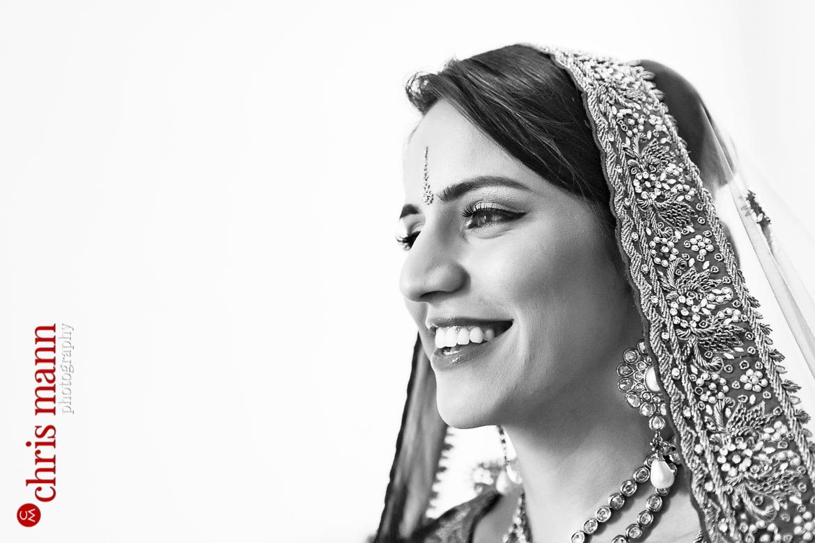 beautiful Sikh bride smiles on her wedding day
