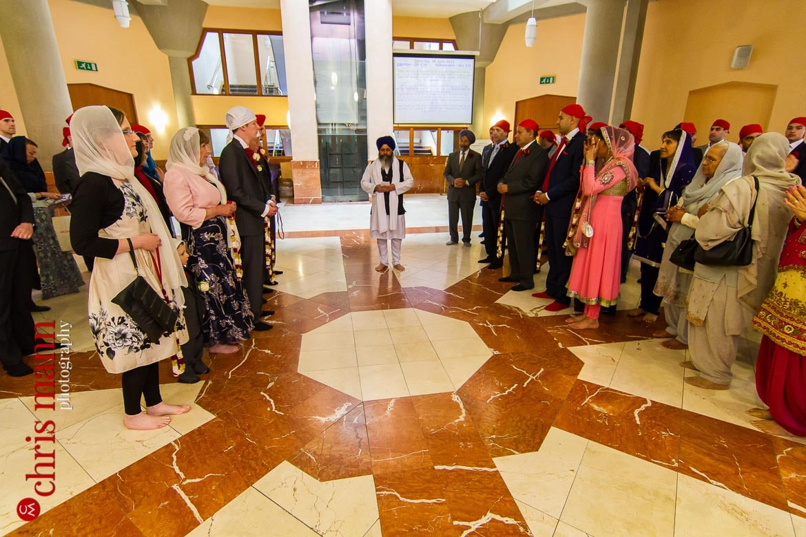 families assemble for Sikh wedding