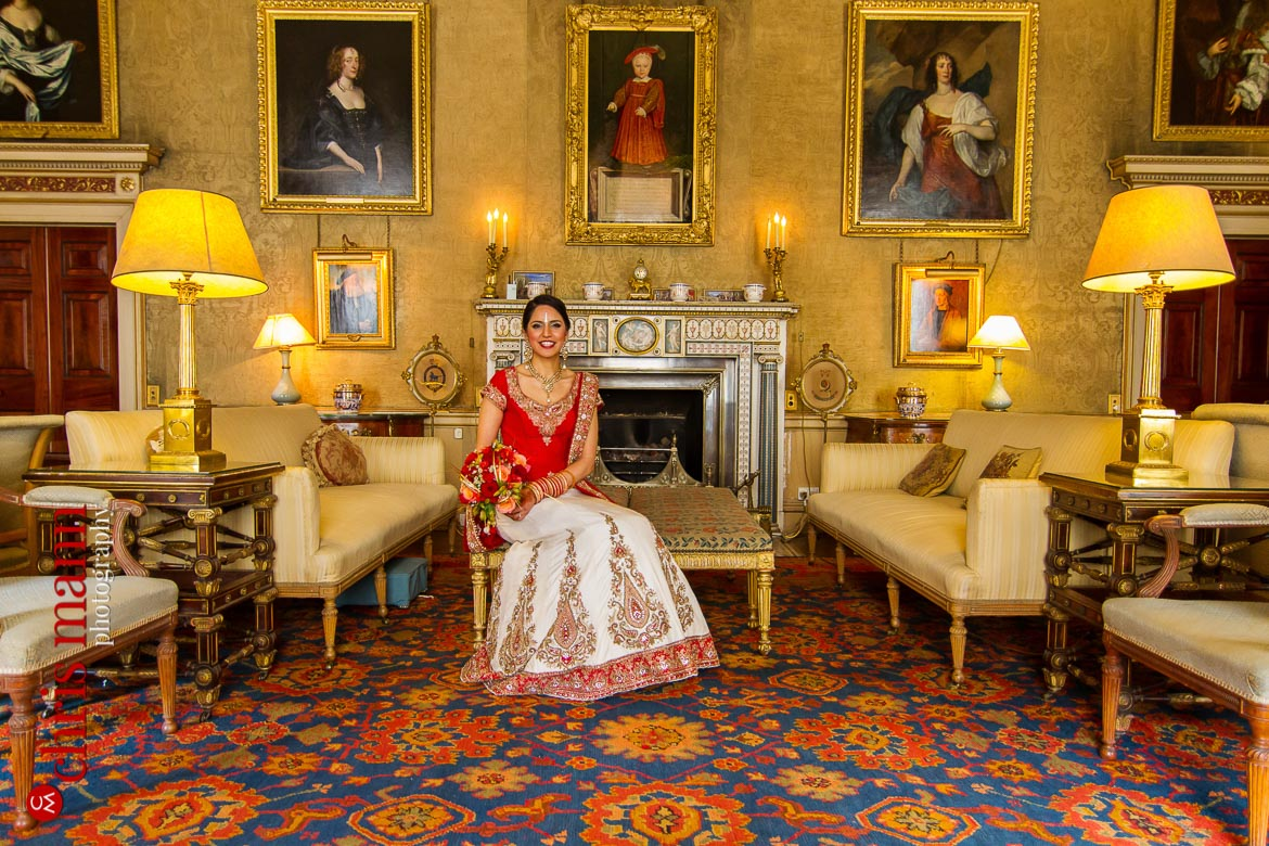 bride in grand drawing room Syon House London