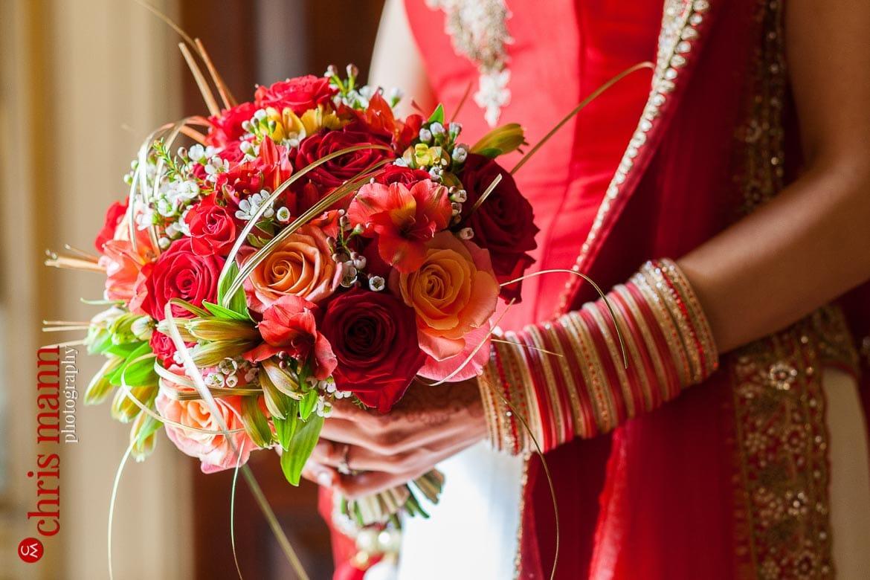 close-up bridal bouquet Sikh Wedding
