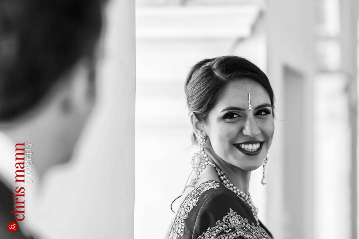 bride smiling at groom wedding Syon House London