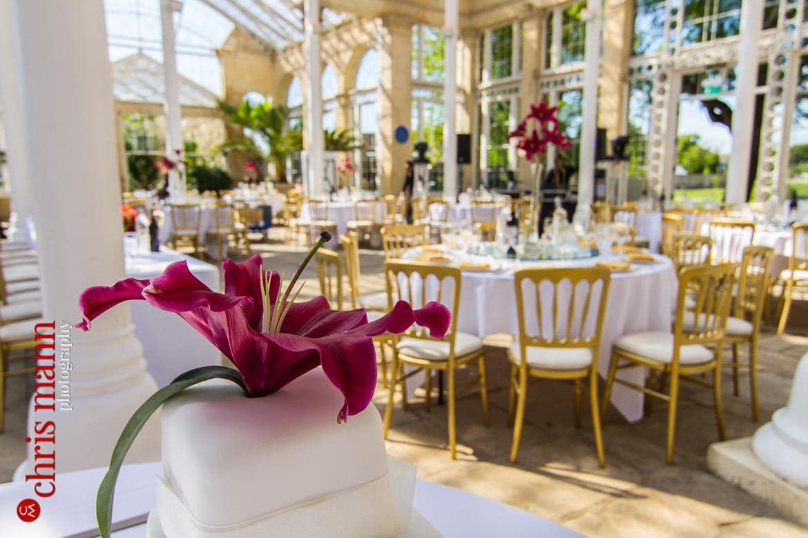 wedding cake and tables reception Syon Park London