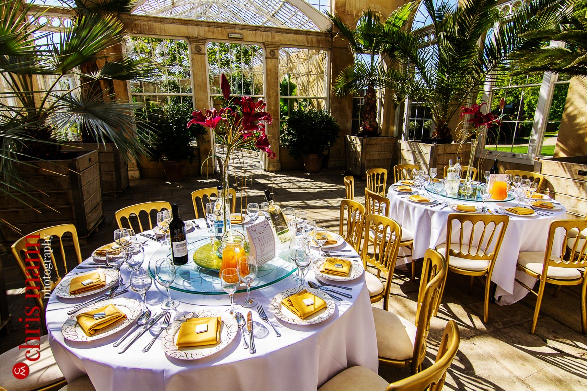 wedding breakfast tables at reception Syon Park Great Conservatory