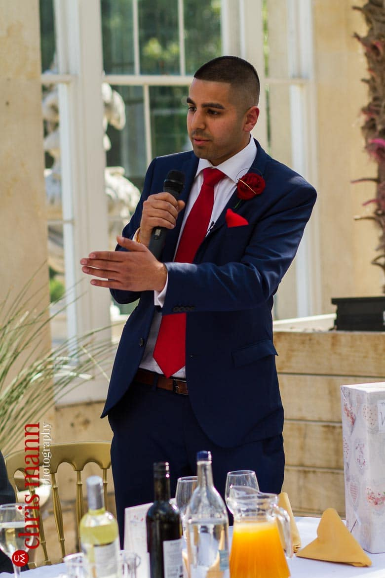 best man's speech at reception Syon Park Great Conservatory