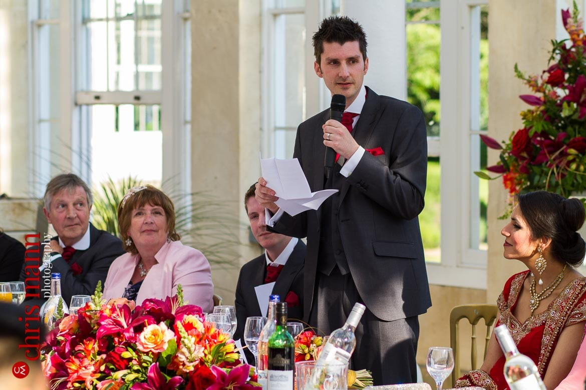 groom's speech at reception Syon Park Great Conservatory