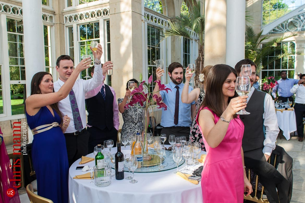 guests toast bride and groom at reception Syon Park Great Conservatory