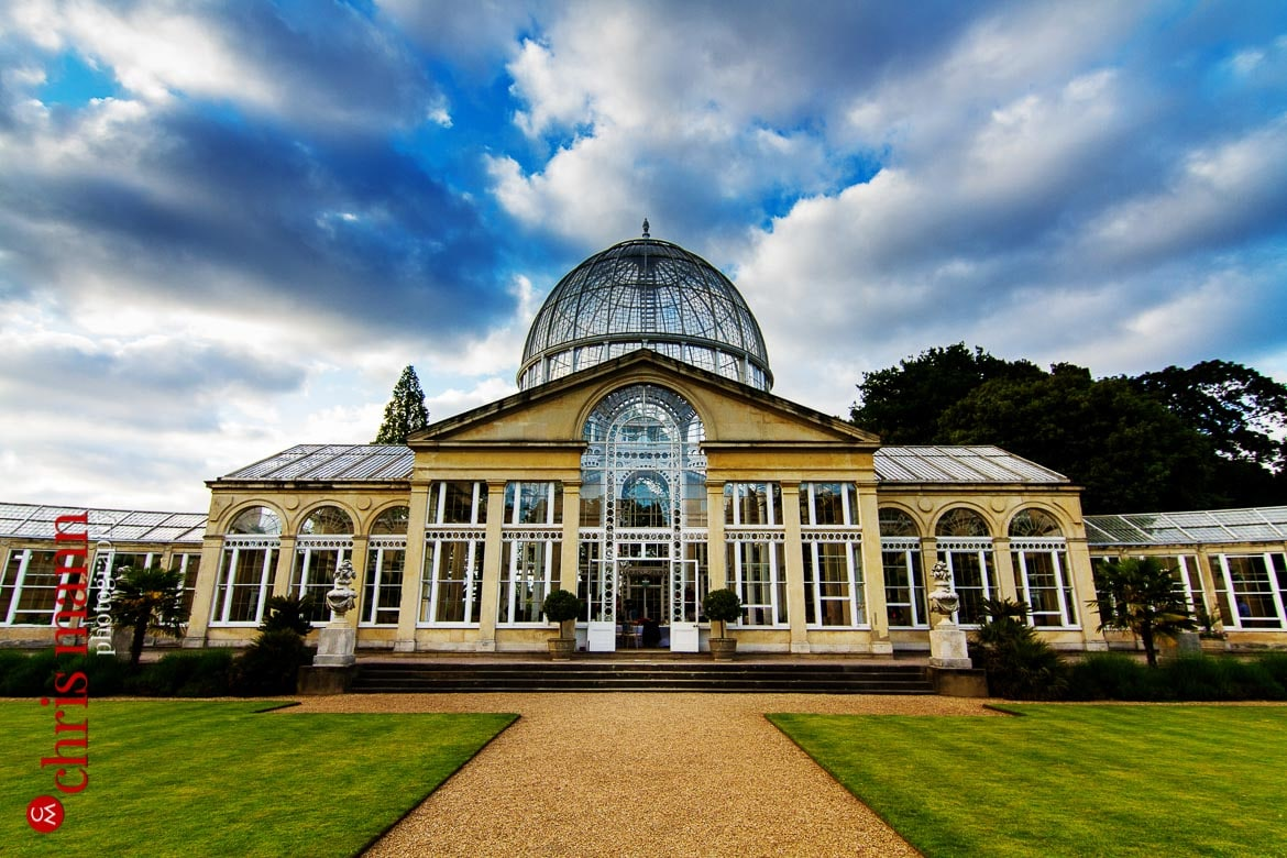 exterior at dusk Syon Park Great Conservatory