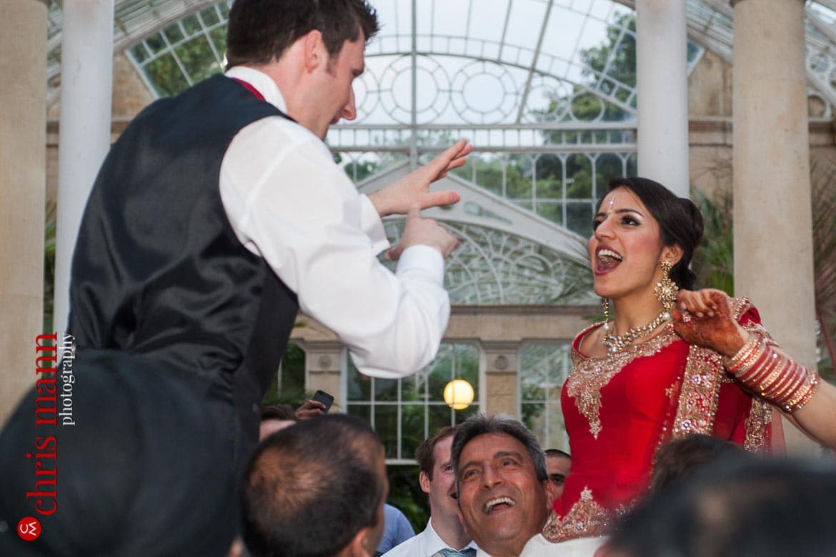 bride and groom dancing at reception Syon Park Great Conservatory