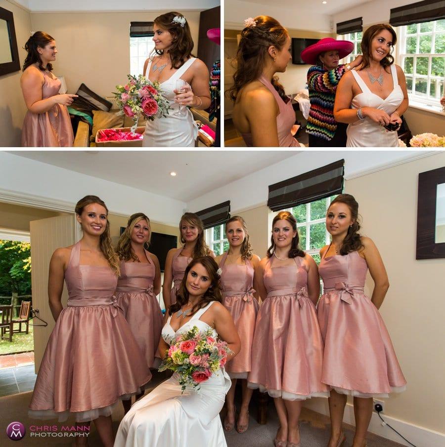 bride and bridesmaids getting ready Barnett Hill Wonersh