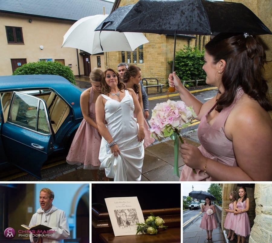 bride arrives church wedding st nicolas cranleigh surrey
