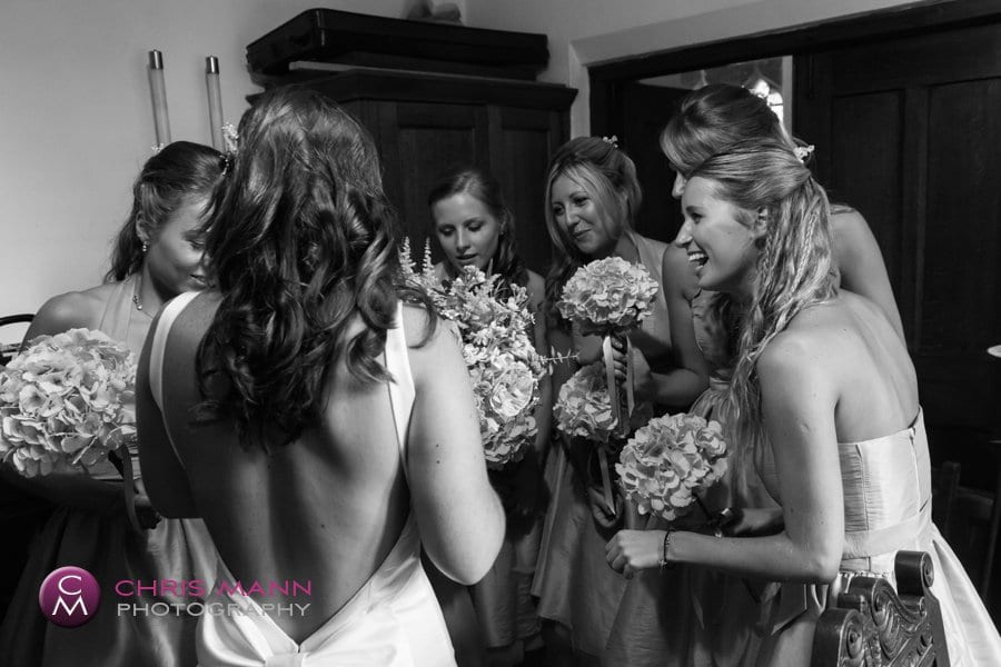 bride with bridesmaids signing of register