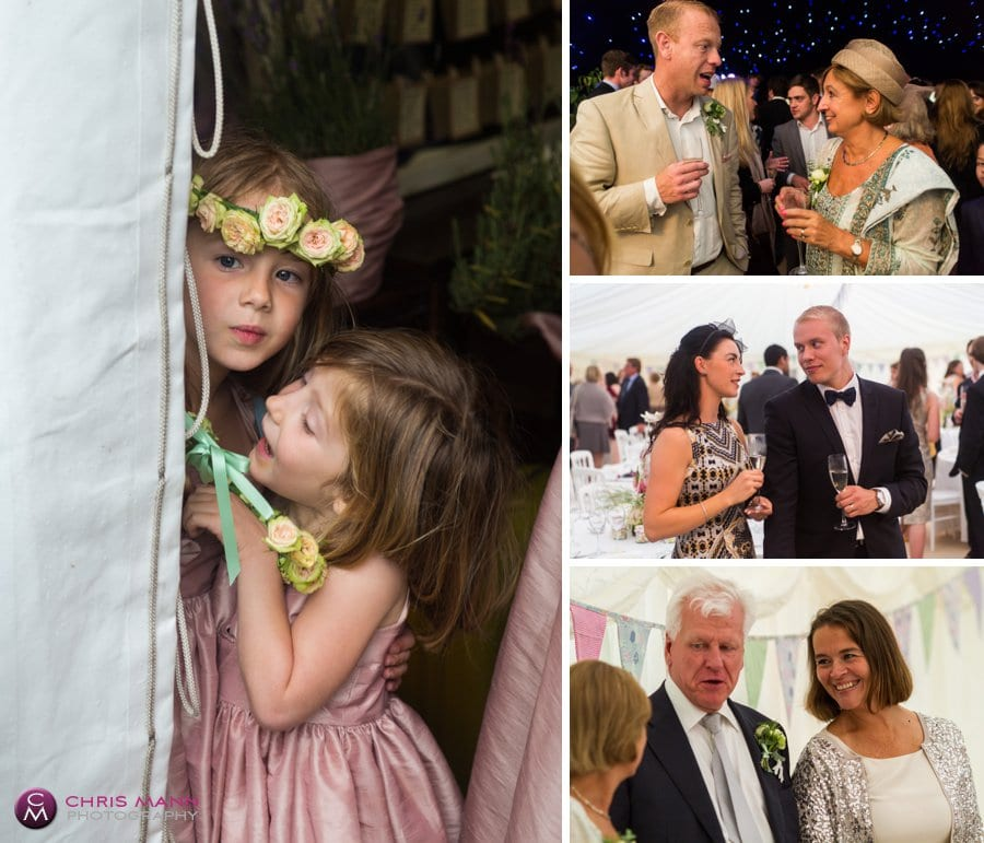 flower girls and guests wedding reception marquee