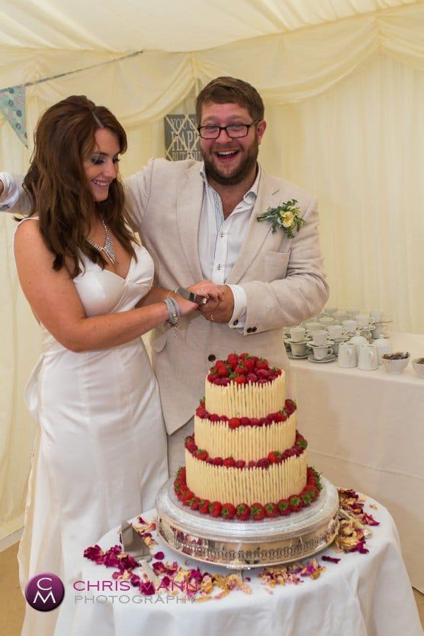 bride and groom cut cake marquee wedding reception surrey