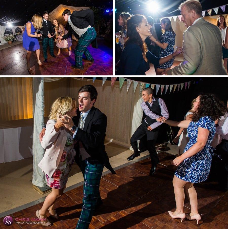 guests dancing marquee wedding reception surrey