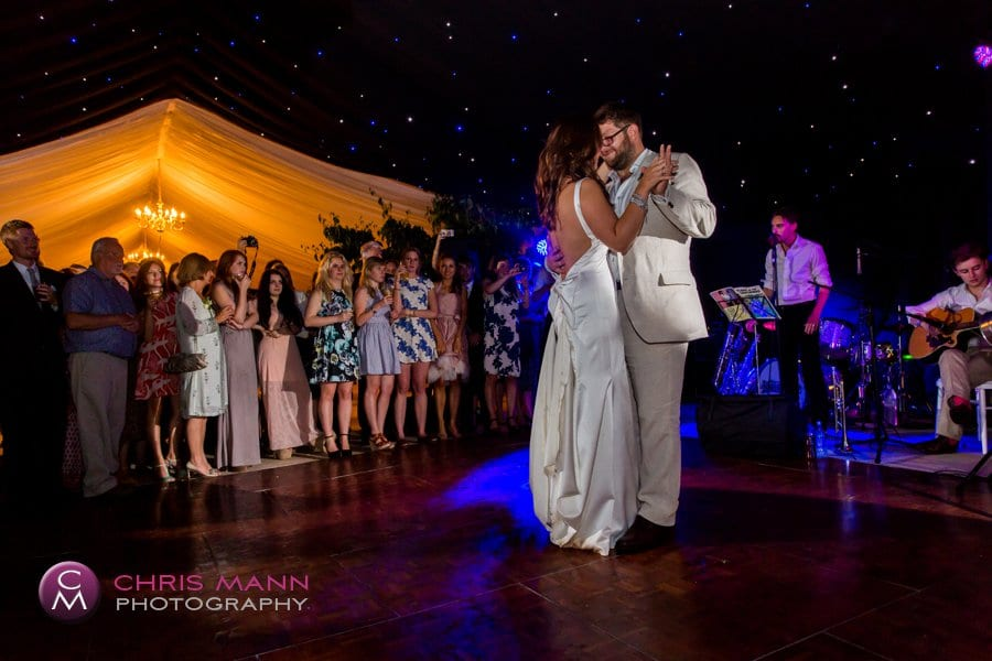 first dance bride and groom marquee wedding surrey