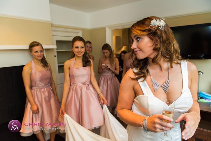 Cranleigh bride with bridesmaids