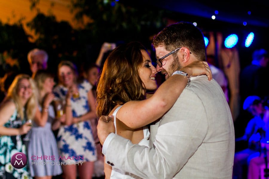happy couple embrace first dance