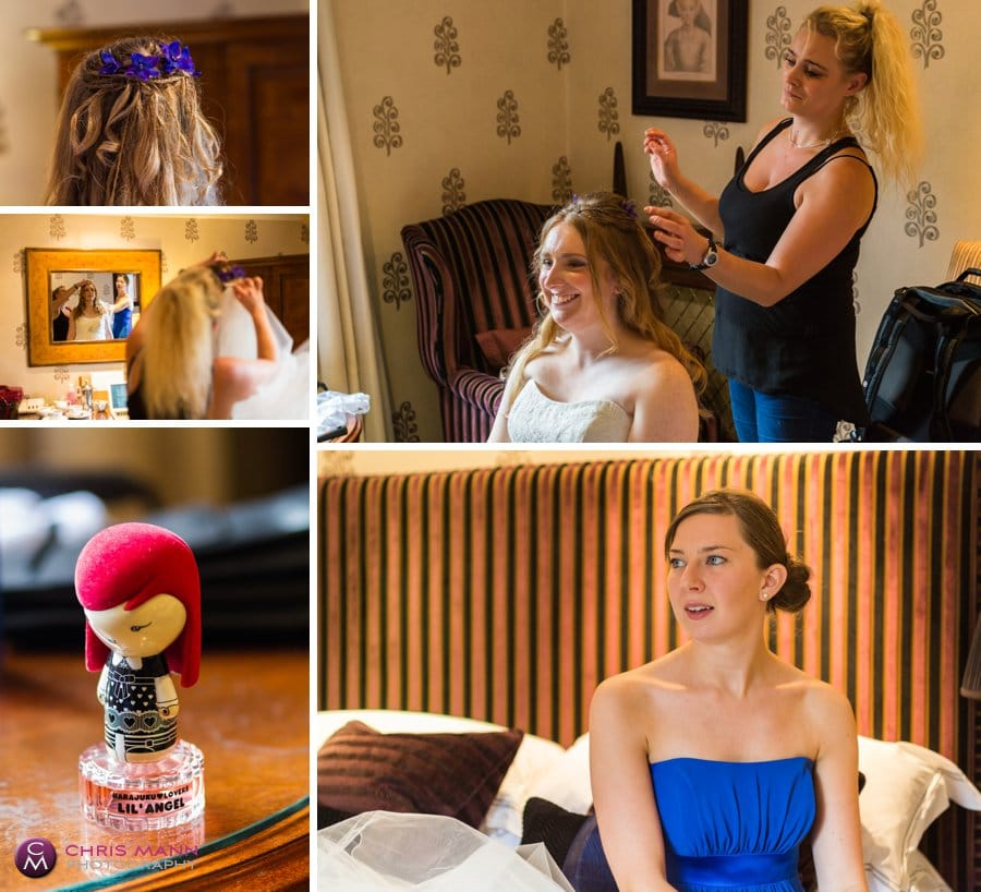bride getting ready with bridesmaids at Langshott Manor Surrey