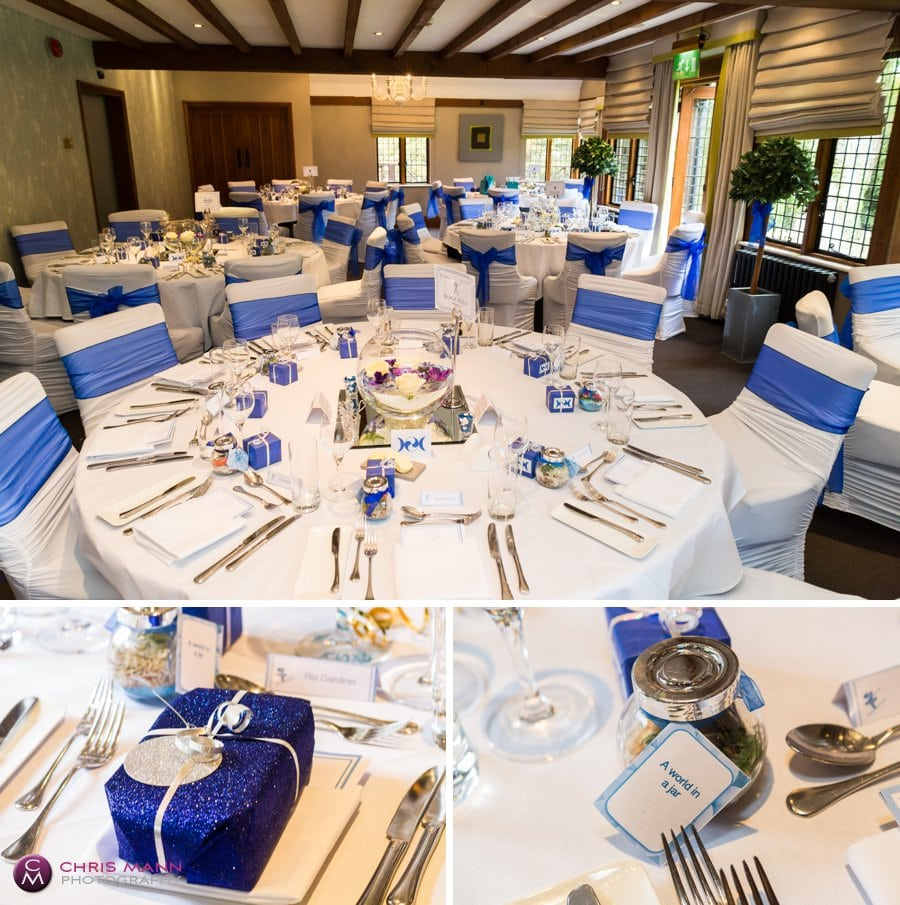 Mulberry restaurant wedding decor Langshott Manor