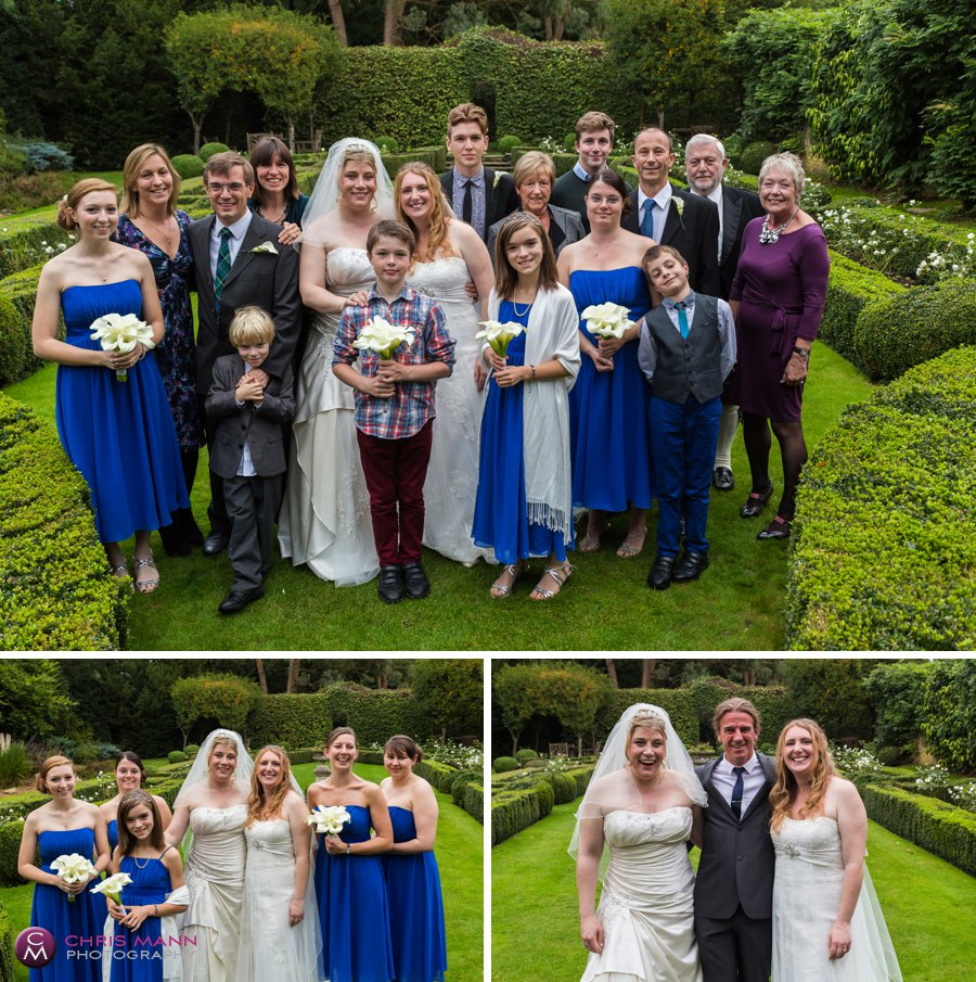 family group photos on lawn at Langshott Manor