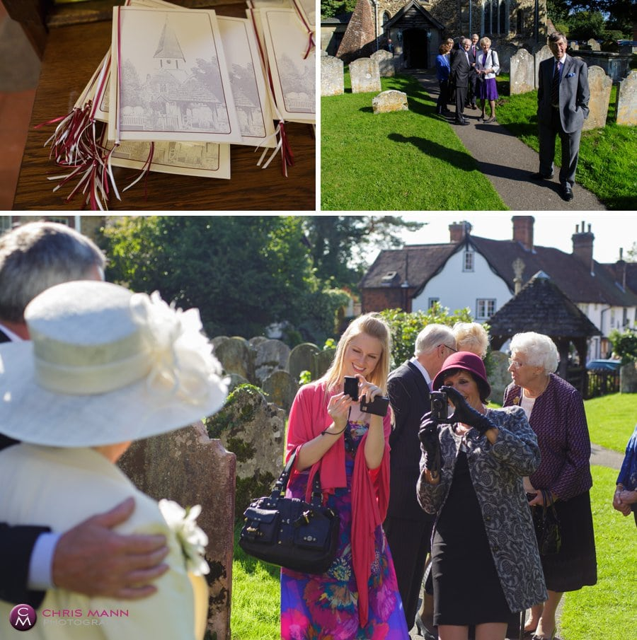 wedding guests arriving St James church shere surrey