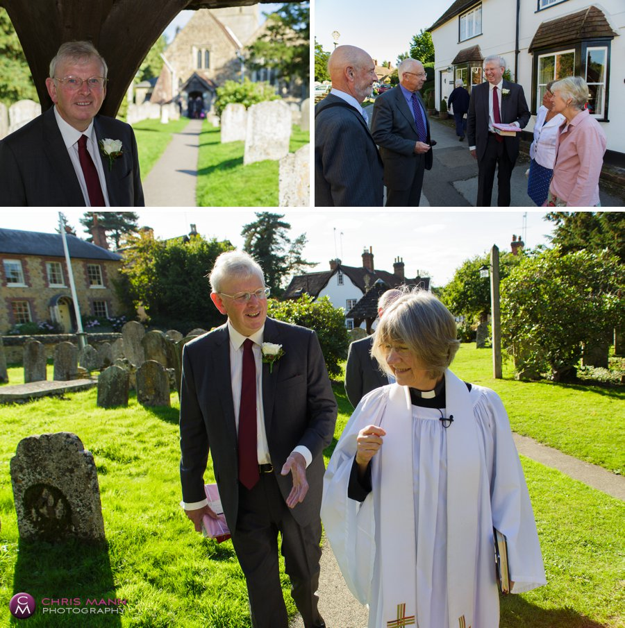 groom and minister st james church shere surrey wedding photography