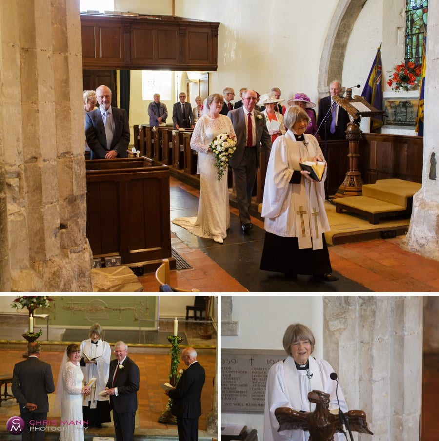 bride walks down aisle with father church wedding surrey
