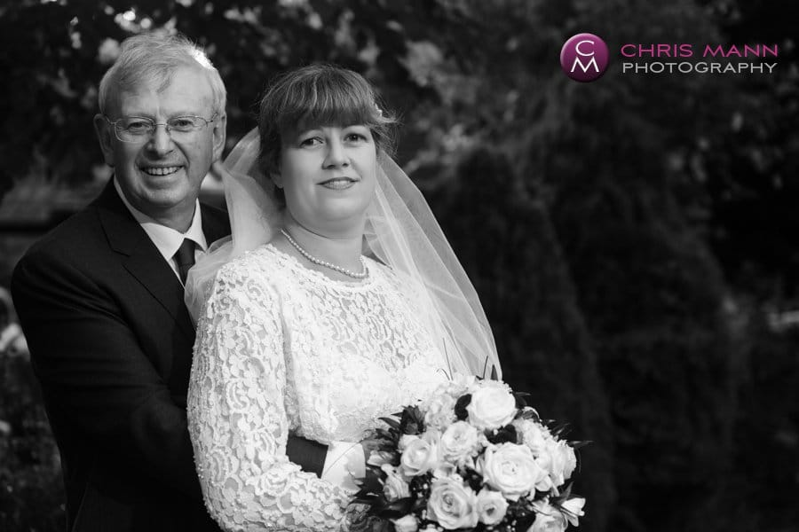 bride and groom portrait black and white photo