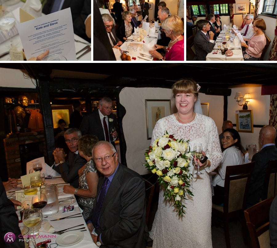 wedding reception kinghams restaurant shere surrey