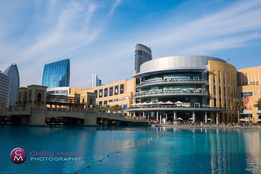 Dubai Mall exterior fountain pool