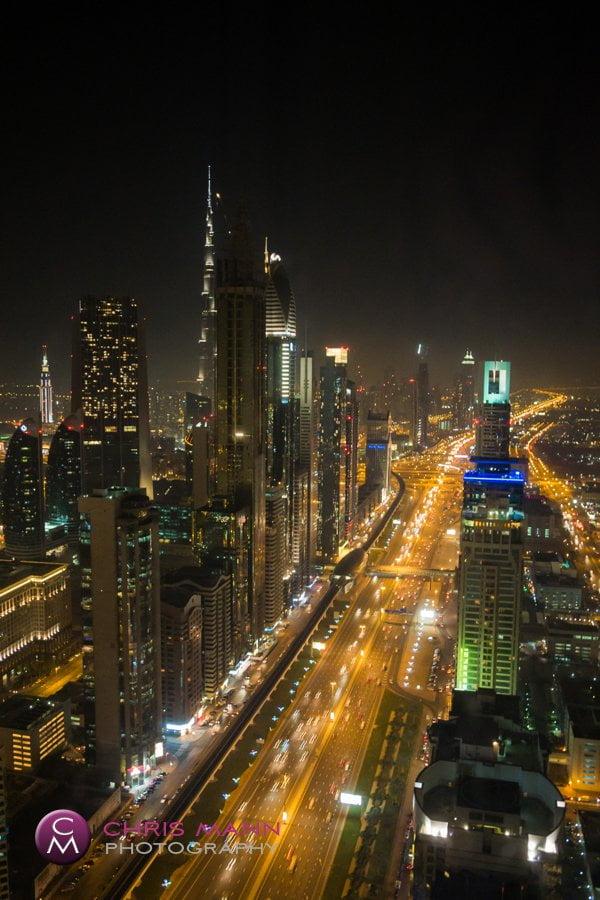 Dubai city night time view Burj Khalifa Sheikh Zayed Road