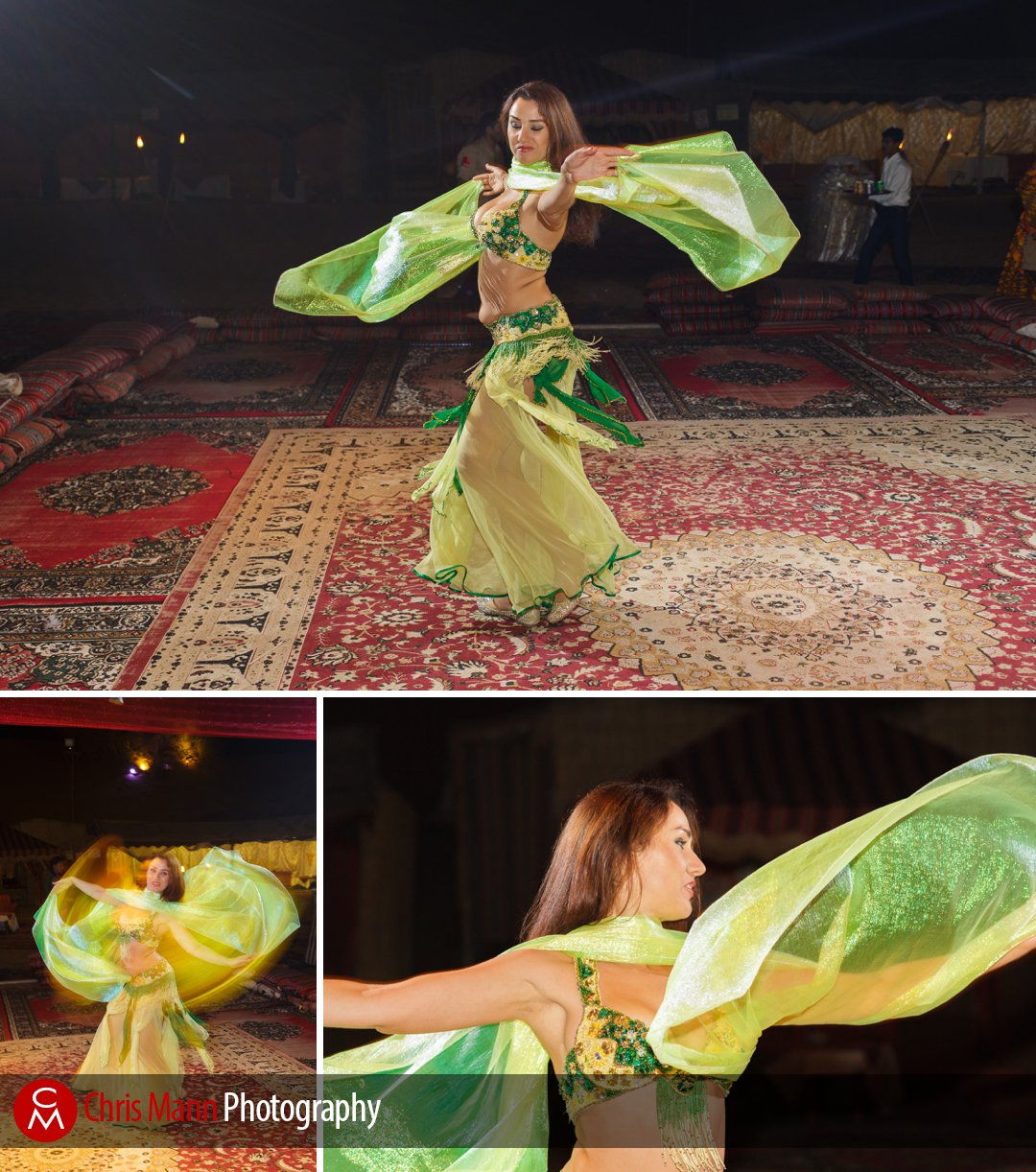 a belly-dancer entertains guests at a wedding in Dubai