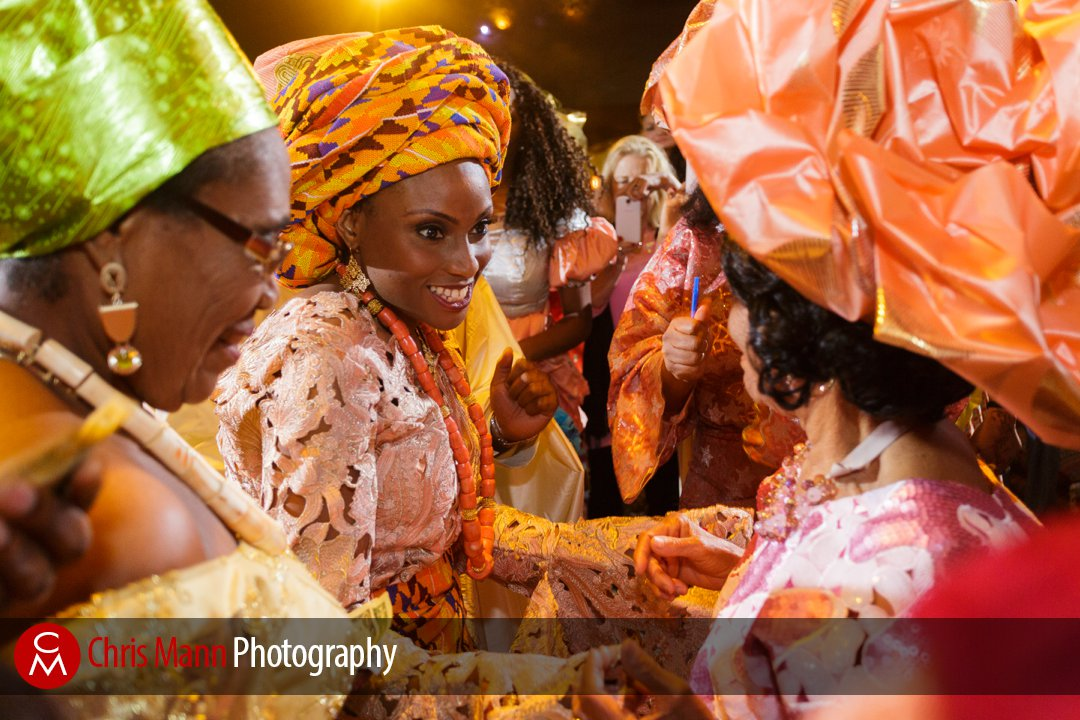 Nigerian bride greets guests after wedding