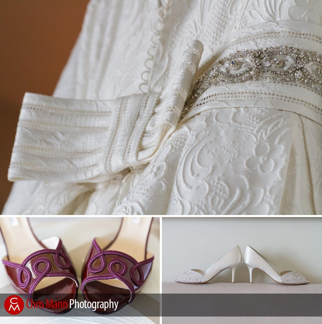 wedding dress details and shoes