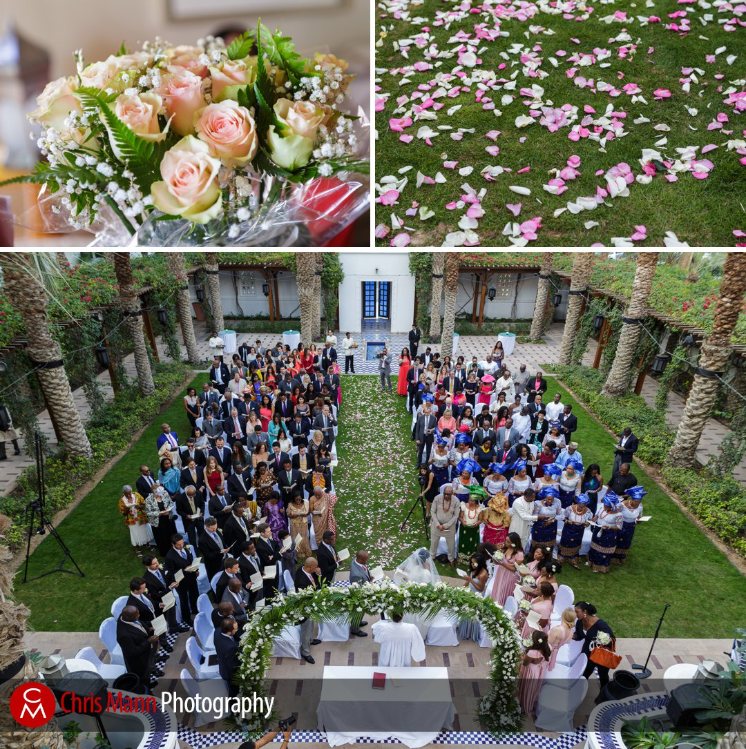 flowers and an aerial view of wedding in the Fountain Garden at Park Hyatt Dubai