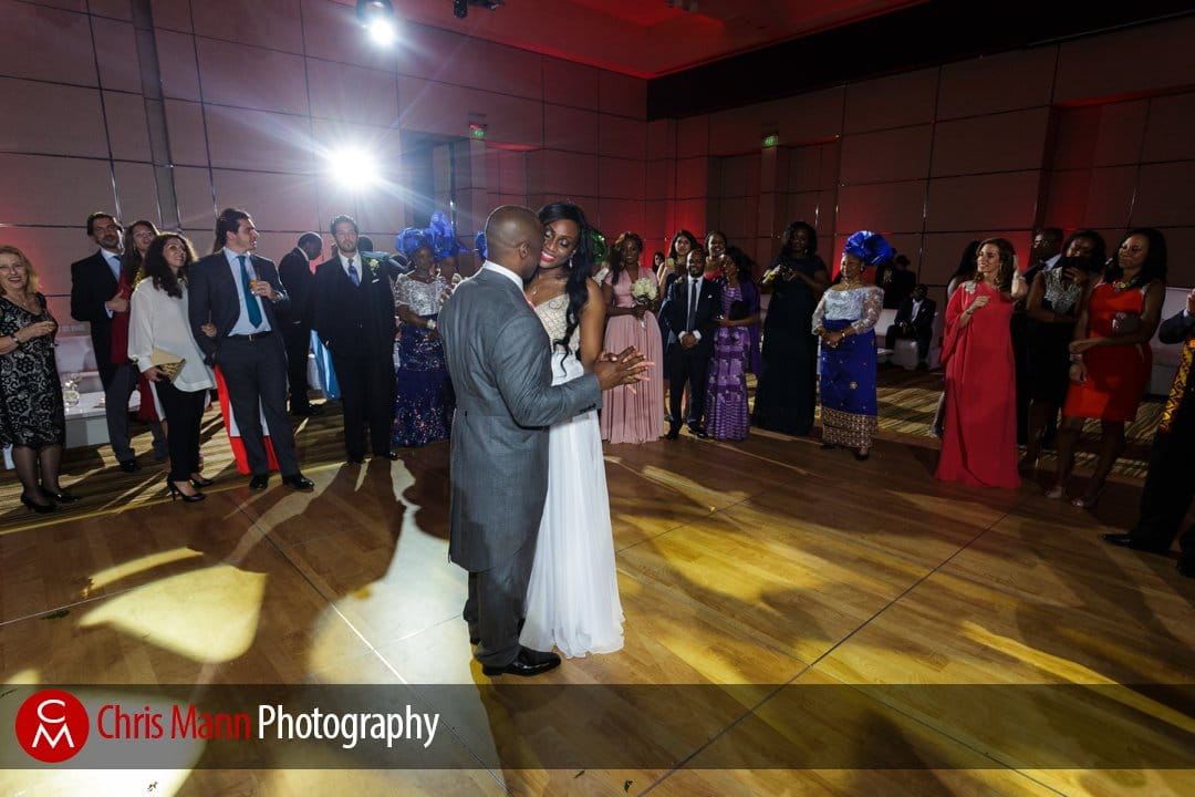 bride and groom first dance in the Grand Ballroom Park Hyatt Dubai