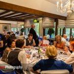 guests at wedding breakfast at Langshott Manor